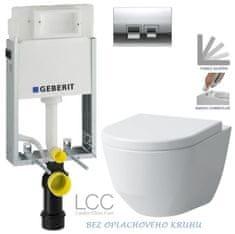 Geberit SET KOMBIFIXBasic včetně ovládacího tlačítka DELTA 50 CR pro závěsné WC LAUFEN PRO LCC RIMLESS + SEDÁTKO (110.100.00.1 50CR LP2)