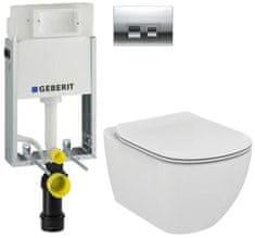 Geberit SET KOMBIFIXBasic včetně ovládacího tlačítka DELTA 50 CR pro závěsné WC TESI (110.100.00.1 50CR TE3)