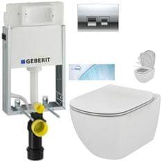 Geberit SET KOMBIFIXBasic včetně ovládacího tlačítka DELTA 50 CR pro závěsné WC TESI se sedátkem SoftClose, AquaBlade (110.100.00.1 50CR TE1)