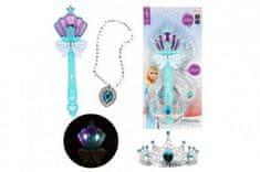 Teddies Kouzelní hůlka + čelenka a náhrdelník Ledová princezna plast na baterie