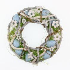 Seizis Fűzfavessző koszorú, kék, 23 cm