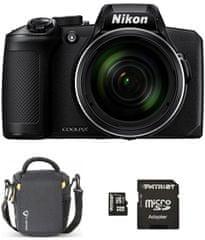 Nikon COOLPIX B600 fotoaparat, črn + SD 32 GB + torbica
