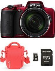 Nikon COOLPIX B600 fotoaparat, rdeč + SD 32 GB + torbica