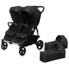 Casualplay Playxtrem Set sportovní kočárek pro dvojčata Baby Twinn + 2 x vanička Cot - Irongate (Black)