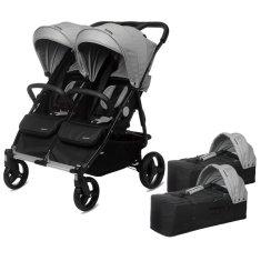 Casualplay Playxtrem Set športový kočík pre dvojičky Baby Twinn + 2 x vanička Cot - Silver (Grey)