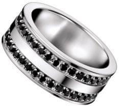Calvin Klein Jeklen prstan s črnimi nosorogi KJ64AR0102