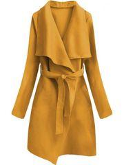 Amando Minimalistický kabát s viazaním 552ART žltý