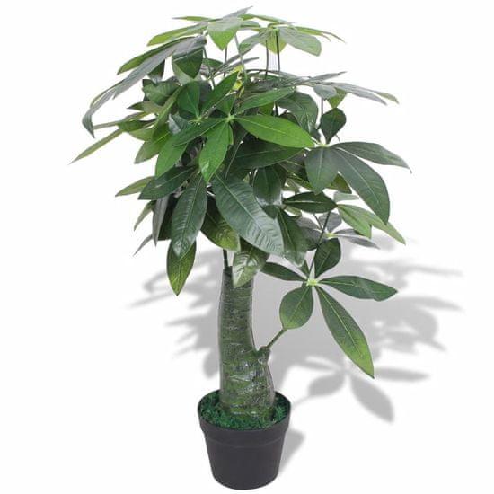 shumee Umelá rastlina, pachira s kvetináčom 85 cm, zelená