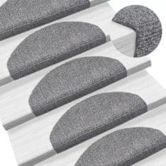 Samolepiace nášľapy na schody, 15 ks, kobercové, 65x21x4cm, bledosivé