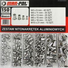 MAR-POL Nýtovací matice, sada 150ks, M3-M10, hliníkové MAR-POL M66541
