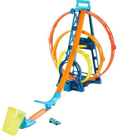 Hot Wheels dirkalna steza z dirkalnim avtom Track Builder, trojni krog