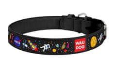 Wau Dog Kožený obojok so vzorom NASA čierny