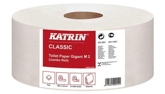 Katrin Papier toaletný JUMBO Classic 220 mm, 2-vrstvový, biely / 6 ks