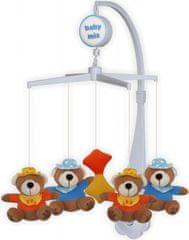 Baby Mix Plišasti vrtiljak nad otroško posteljico - medvedki