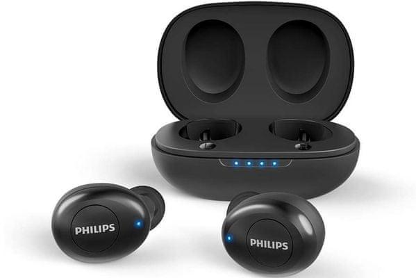 prenosné bezdrôtové Bluetooth slúchadlá philips taut102bk pohodlné v ušiach podpora hlasového asistenta siri google assistant li-ion batéria výdrž 3 h na nabitie nabíjacie púzdro 3 plné nabitia výborný zvuk silné basy 6 mm neodymové meniče uzavretá akustika handsfree mikrofón potlačenie šumu a ozveny u mikrofónu ľahké