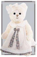 Bukowski Bukowski BELLA SOPHIE medvídek bílý, šaty přírodní, modrá stuha s květy (40 cm)