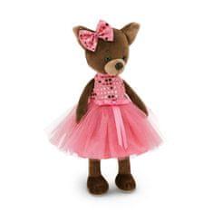 Orange Toys Orange Toys Pejsek Lucky KIKIi:CRIMSON SHINE hnědý/růžové šaty 25 cm sedící/44 stojící