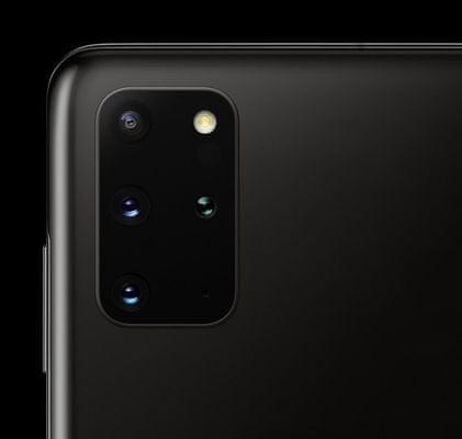 Samsung Galaxy S20+, čtyřnásobný ultraširokoúhlý fotoaparát, teleobjektiv, optická stabilizace obrazu, trojnásobný optický zoom, dual pixel PDAF, TOF 3D kamera
