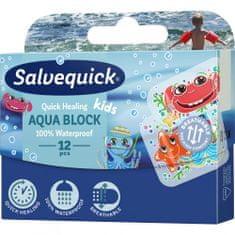 Salvequick Aqua Block Kids Náplasť urýchľujúca hojenie pre deti, vodeodolná, 12 ks