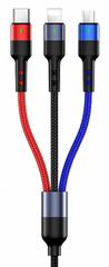 USAMS SJ412 U26 2A Datový Kabel 3v1 3m Black (EU Blister) (SJ412USB01)