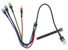 USAMS SJ411 U26 2A Dátový Kábel 4v1 0,35 m Black (EU Blister) (SJ411USB01)