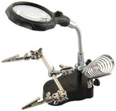 """Genborx Univerzální držák pro pájení, tzv. """"třetí ruka"""" s lupou a LED osvětlením"""