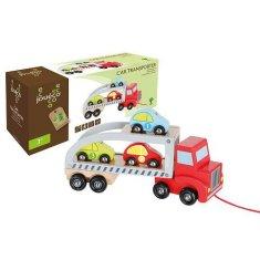 Jouéco dřevěný transportér se 3 autíčky 18m+