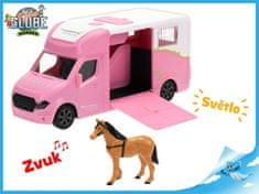 Mikro Trading Auto přepravní 20cm kov na setrvačník růžové s koněm