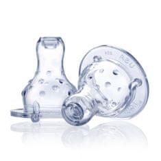 Nuby Silikónový cumlík na fľašu štandard, masážny, nekvapkajúci, samoregulačný 2 ks, 0+m