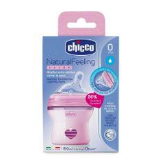 Chicco Otroška steklenica Natural Feeling roza 150ml, od 0m +