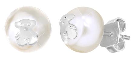 Tous Valódi gyöngyből készült fülbevaló, medve 411143500 ezüst 925/1000
