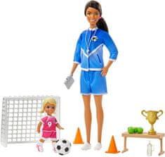 Mattel lalka Barbie Trenerka Piłki Nożnej z zestawem, brązowe włosy