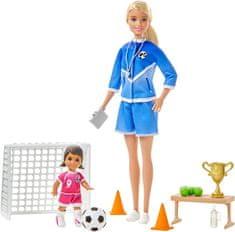Mattel lalka Barbie Trenerka Piłki Nożnej z zestawem, blond włosy