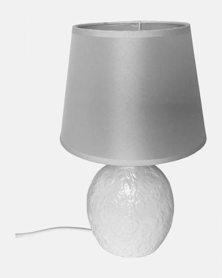 DUE ESSE Biela stolová lampa 34 cm so štylizovanými kvetinami