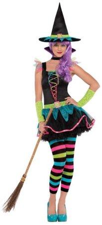 dekliški neonski kostum čarovnice