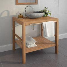 shumee Skrinka do kúpeľne a umývadlo, tíkové drevo a riečny kameň