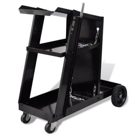 shumee Črn voziček s tremi policami za organizacijo varilskih pripomočkov
