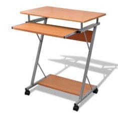 Počítačový stůl s vysouvací deskou pro klávesnici hnědý