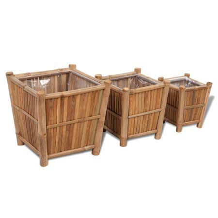 Zestaw trzech bambusowych koszy/doniczek z nylonowym podszyciem