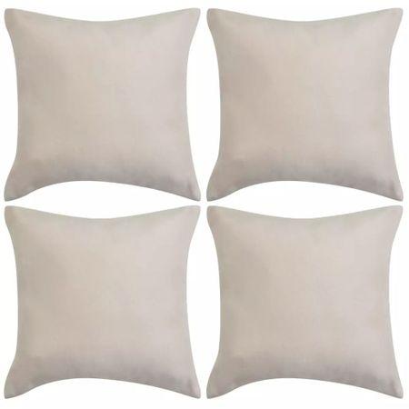 shumee Poszewki na poduszki 40x40 cm, zamszowe, 4 szt., beżowe