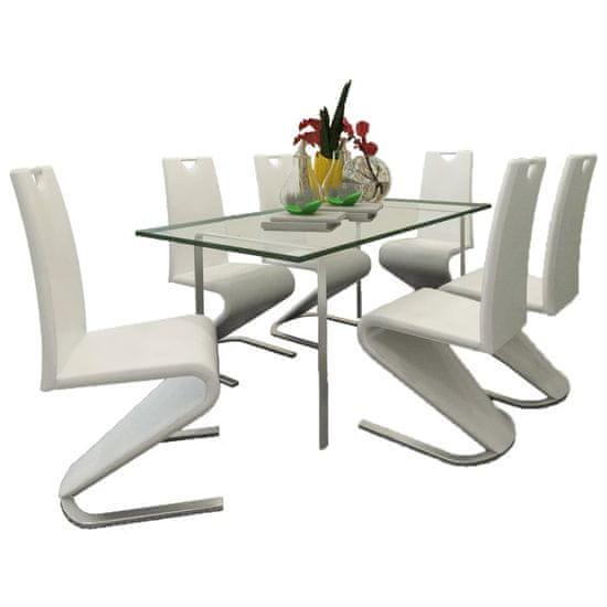 Vidaxl Jídelní židle 6 ks bílé umělá kůže