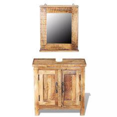 shumee Skříňka pod umyvadlo a zrcadlo masivní mangovníkové dřevo