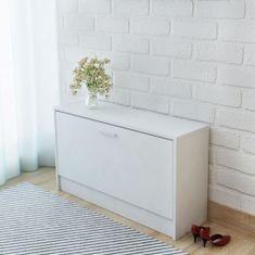 shumee Skrinka na topánky, biela, 80x24x45 cm