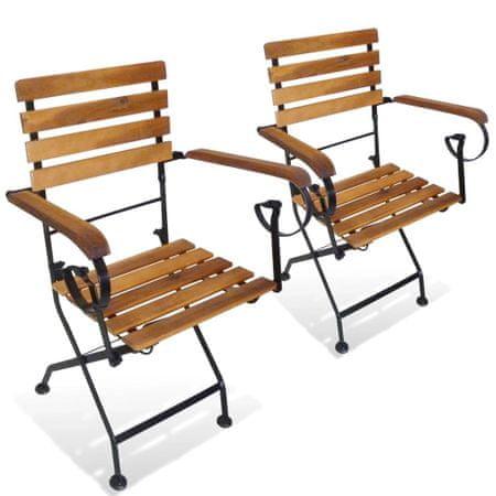 shumee Zložljivi vrtni stoli 2 kosa jeklo in trden akacijev les