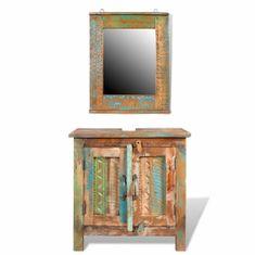 shumee Koupelnová sada z recyklovaného masivního dřeva se zrcadlem