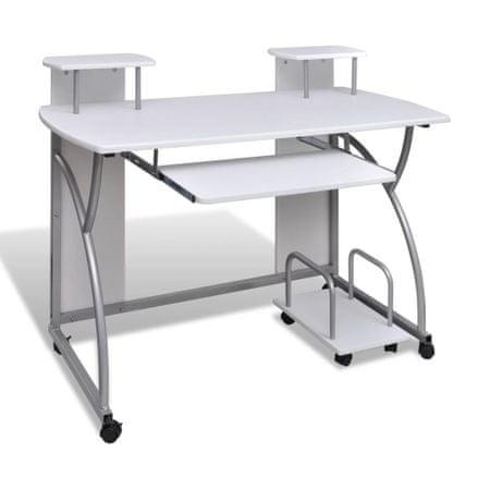 Biurko komputerowe z ruchomą podstawką na klawiaturę, białe