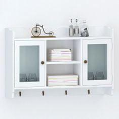 shumee Bílá nástěnná skříňka / vitrína z MDF na ukládání knih /DVD /skleniček