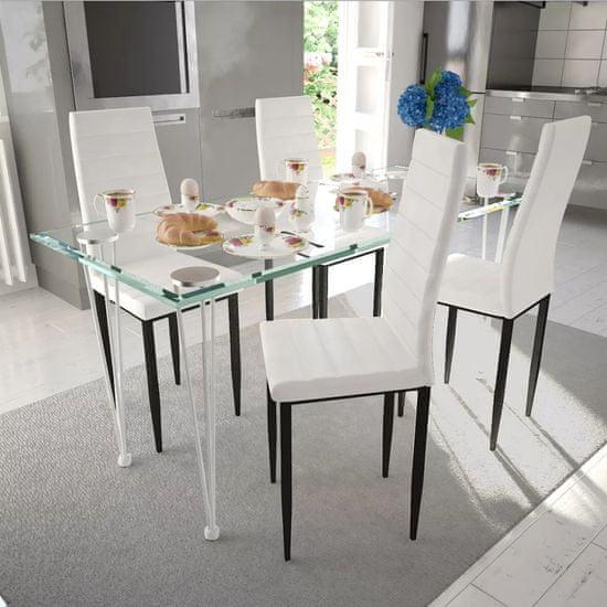shumee Jídelní židle 4 ks bílé umělá kůže