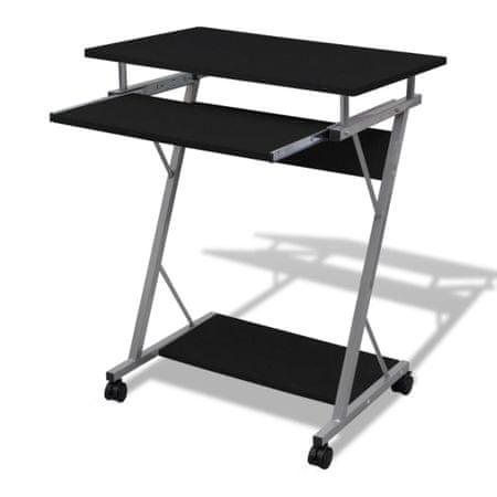 shumee Számítógépes íróasztal kihuzható tálcás íróasztal Fekete