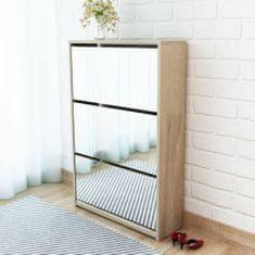 shumee Botník s 3 zrkadlovými skrinkami, dubový, 63x17x102,5 cm